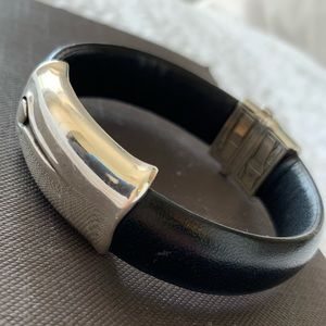 John Hardy Bamboo Leather Station Bangle w/Clasp